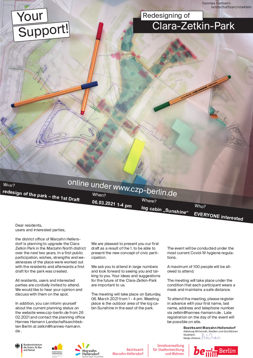 Advertisement with call for participation: Redesign of Clara Zetkin Park
