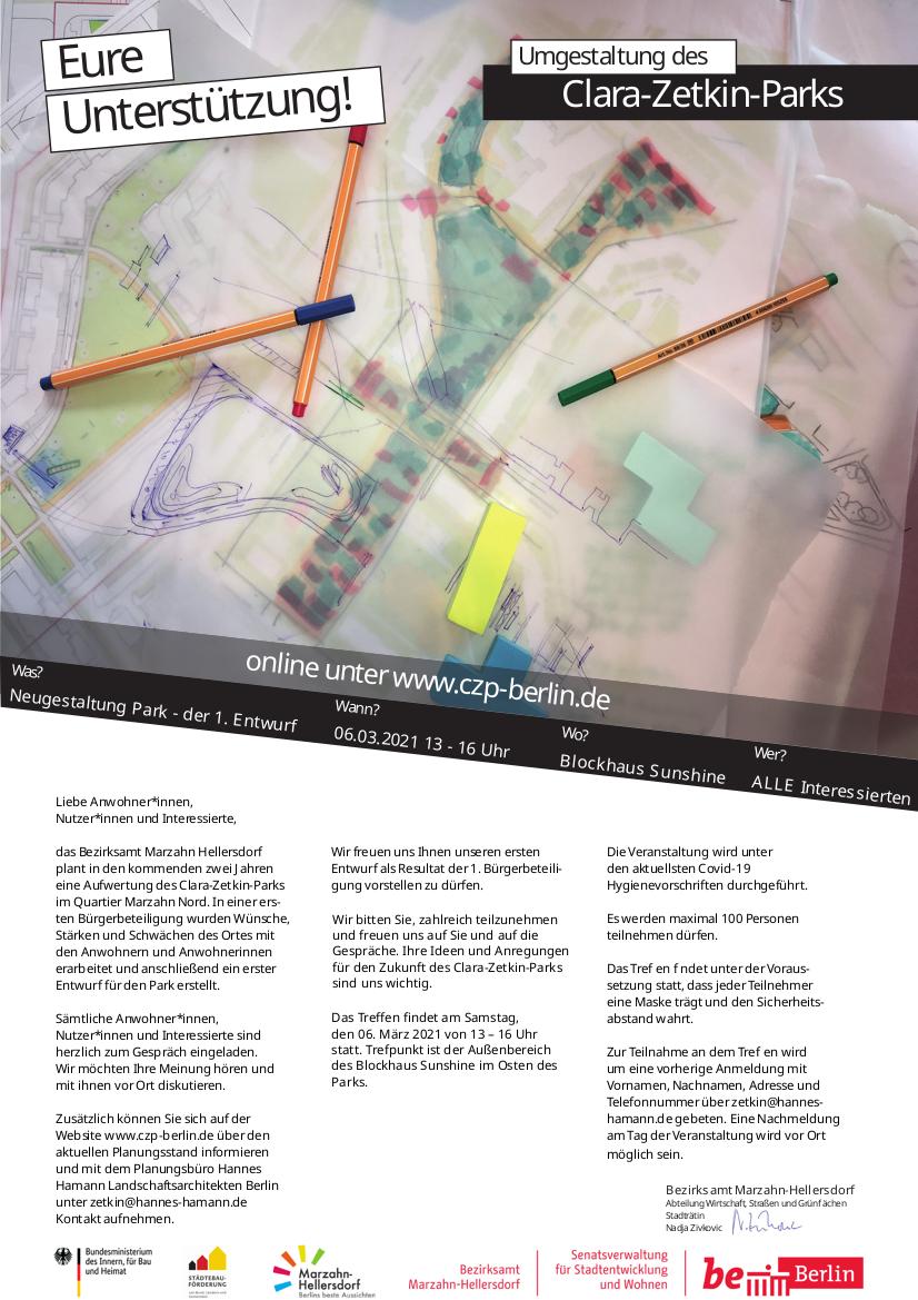 Anzeige mit Aufruf zur Beteiligung - Partizipation: Neugestaltung des Clara-Zetkin-Park